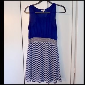 Blue sleeveless fit and flare chevron dress